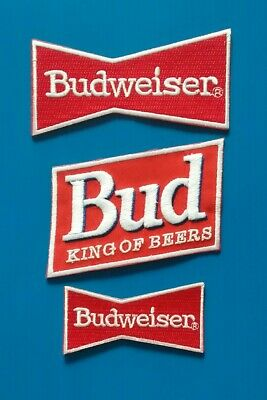3 BUDWEISER BUD BEER KING OF BEERS Embroidered Iron Or Sewn On Patches Free Ship
