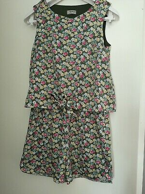 Girls NEXT green flowred Short Jumpsuit. Age 11 Years. Good condition