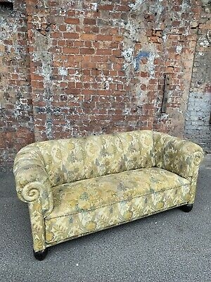 Antique Chesterfield Style Small Sofa / Settee Upholstered With Floral Fabric