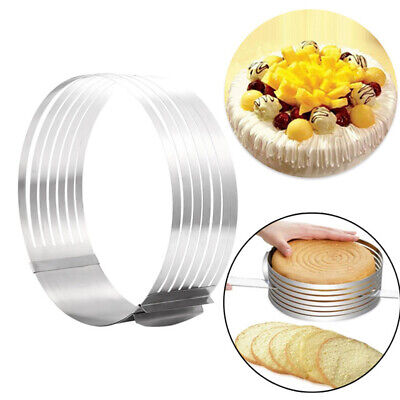 16-30cm Adjustable Round Stainless Steel Cake Ring Mold Layer Slicer Cutter~GQ