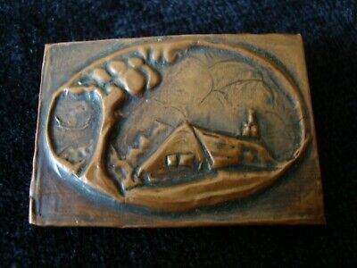 Arts & Crafts Repousse Copper Brooch