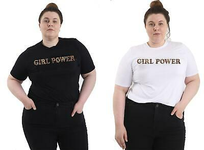 Womens Girls Leopard Print Girl Power Spice Up Your Life T Shirt Plus Size Curvy