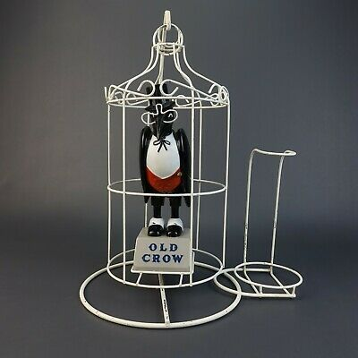 Rare Vintage Old Crow Bourbon Whisky Advertising Bird in Cage & Bottle Display