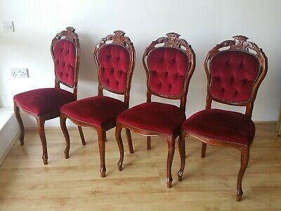 SET OF 4 DARK RED VELVET MAHOGANY VICTORIAN STYLE DINING CHAIRS Delivery poss.