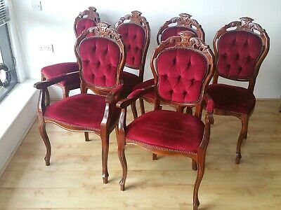 PAIR OF DARK RED VELVET MAHOGANY VICTORIAN STYLE DINING CHAIRS WITH ARMS Deliver