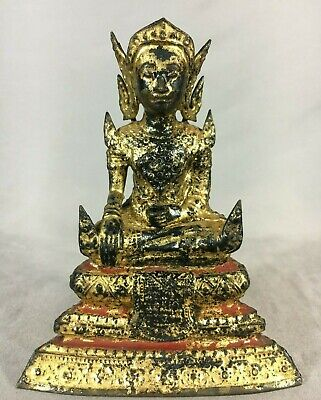 Antique Thai Gold Bronze Buddha Rattanakosin 18th/19th C. Temple Statue