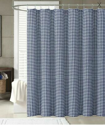 Cannon Shower Curtain Henley Navy Blue Checkered White Print Cotton Fabric