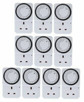 New 10 x 24 Hour Mains Plug-in Auto Timer Switch Clock Socket Uk 3 Pin Lights