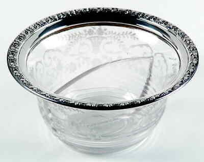 Antique Wallace Sterling rim Cambridge glass Etched Portia Divided Serving Dish