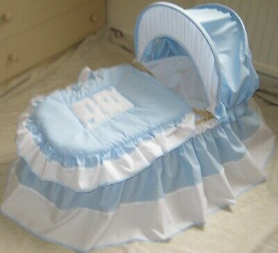 'I Love My Mummy And Daddy' Blue And White Moses Basket Cover Set By Babyfanzone