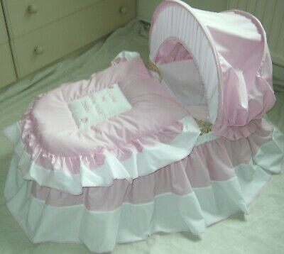 'I Love My Mummy And Daddy' Pink And White Moses Basket Cover Set By Babyfanzone