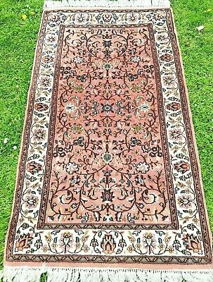 Vintage WOOL PERSIAN ORIENTAL hand knotted RUG CARPET 160x90cm NAIN FLORAL style