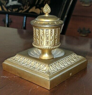 Antique Bronze Gilt Brass Classical Inkwell 19th Century Marked