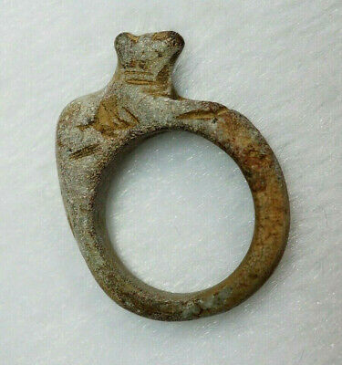 Fine! ANCIENT Egypt Faience Statue Amulet Bastet Cat Pharaoh protector Ring