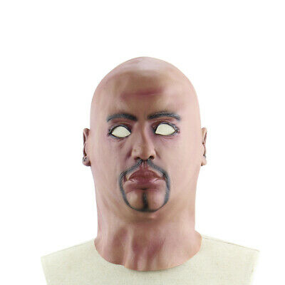 Realistic Latex Human Mask Scary Full Head Male Man Masks for Halloween L7A3