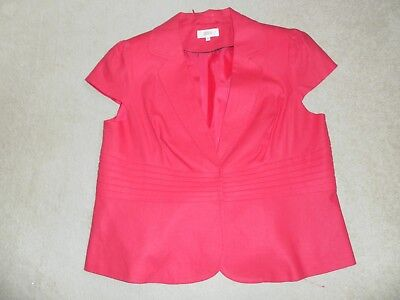 Ladies Marks And Spencers Hot Pink Linen  Mix Jacket Size 20