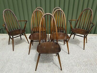 SET Of 7 VINTAGE MID CENTURY ERCOL QUAKER 365 CHAIRS CARVERS