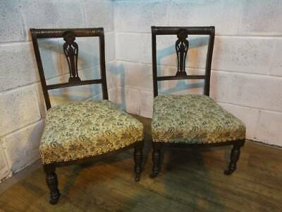 PAIR Of EDWARDIAN MAHOGANY SALOON NURSING CHAIRS On CASTERS