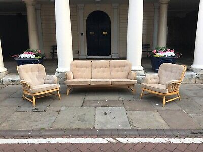 VINTAGE RETRO ERCOL JUBILEE BLOND  3 SEATER SOFA & 2 CHAIRS 1970s Delivery