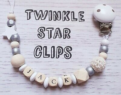 Personalised Baby Wooden Dummy Clip Crochet Grey White Star Silver Handmade