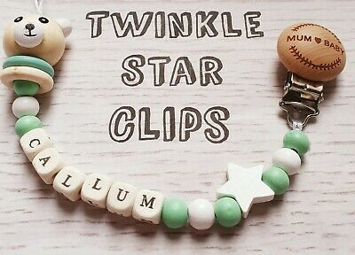 Personalised Wooden Dummy Engraved Clip Green & White Teddy Bear Baby