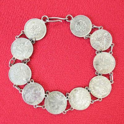 Antique Three Pence 3p Silver Coin Bracelet, 1879,1883 & 1901,08,32,33,34,38,39