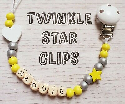 Personalised Wooden Dummy Clip Grey Yellow Pacifier Mummy Loves Baby Cot Bib
