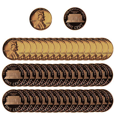 1962 Gem Proof Lincoln Cent Roll - 50 US Coins