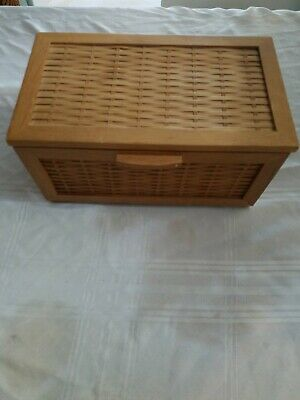 Designer Solid Wood Woven Modern Chick Decor Box with Front Lid with handle