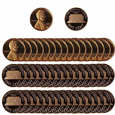1963 Gem Proof Lincoln Cent Roll - 50 US Coins