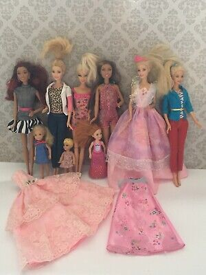 Mattel Barbie Doll Bundle and Chelsea Doll Inc Clothes Good Condition 9 Dolls