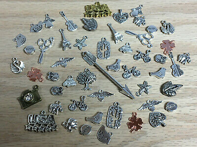 Large Mixed Lot Of 50 Assorted Charms Jewelry Making Supplies & Crafts D05