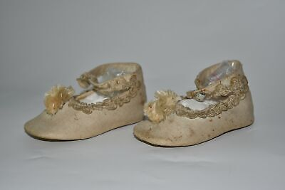 Antique Victorian Baby Shoes Linen and Leather or Doll Shoes