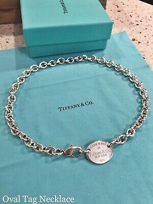 """2a55fd716 Tiffany & Co. 925 Silver """"Please Return To"""" Oval Tag Necklace / Choker"""