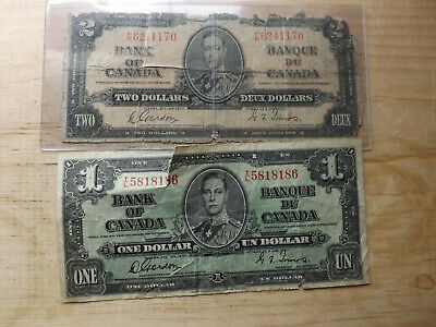 Bank Of Canada Lot - 1937 $2.00 & $1.00 Notes =..