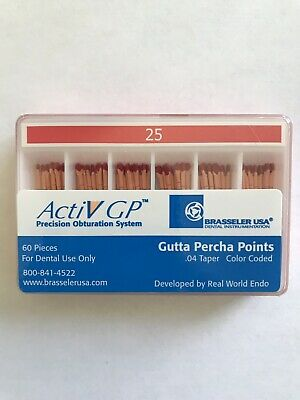 Brasseler ActiV GP Endosequence gutta percha points, Size 25 taper .04, 1 Pack