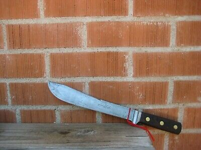 "Vintage 9 1/2"" Blade LANDERS FRARY & CLARK US Military Carbon Butcher Knife USA"