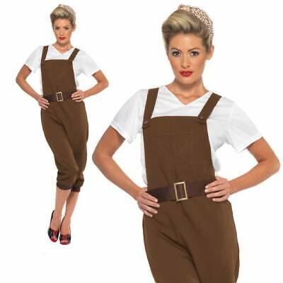 WW2 Land Army Girl 1940s Costume Munitions Womens Ladies Fancy Dress Outfit