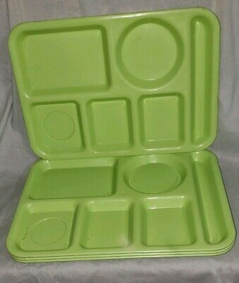 4 LIME GREEN SILITE DEVIDED LUNCH SERVING TRAYS.. 1970s