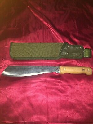 1993 Large  BOWIE MACHETE KNIFE FULL TANG ORK WOOD HANDLE 17-9944
