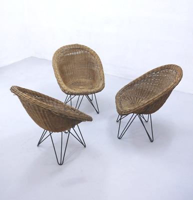 Vintage Mid Century Basket Wicker Chairs with Hairpin Metal Legs, 1950s, Garden
