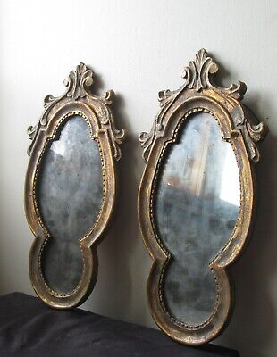 PAIR of Antique 18th Century 1700's gold gilt wood ornate ITALIAN wood mirrors