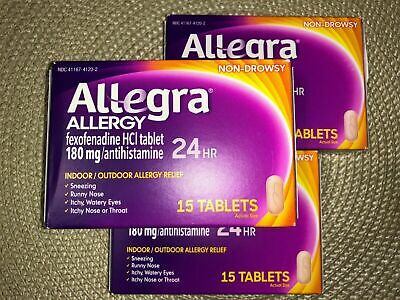 (3) Allegra Allergy 24hr Tablets 15 count = 45 total Allergy Relief Exp 10/19