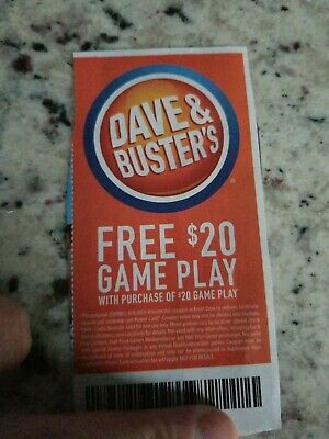Dave And Busters $20 gameplay with $20 gameplay purchase Expires: 8/9/19