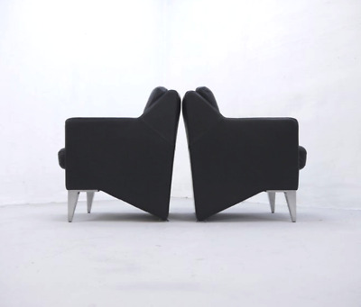 Vintage Postmodern Black Leather Armchairs, Lounge Chairs, 1980s - 1990s Design