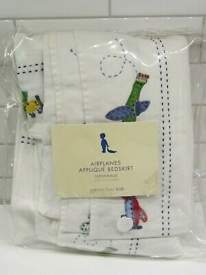 Pottery Barn Kids Appliqued Embroidered Airplanes Baby Boy Crib Skirt