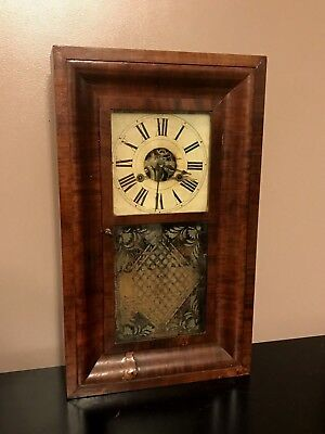 Terry Andrews MANTLE CLOCK ANTIQUE Mahogany Wood Painted Dial Glass Etched