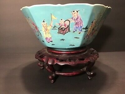 """Chinese Antique Famille Rose Bowl 9"""" Wide by 4"""" High Scene tells a story 6 sided"""