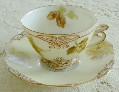 Beautiful~1900'S~Old~Ivory~Roses~Clarion~Tea~Cup~Saucer~Plate~Pot~Is~Available