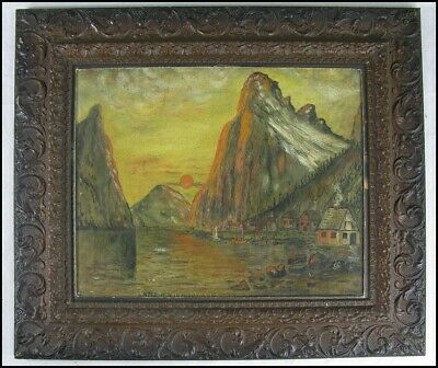 Norway? Vintage Old 1934 Scandinavian W.H. Elford Fjord Village Oil Painting